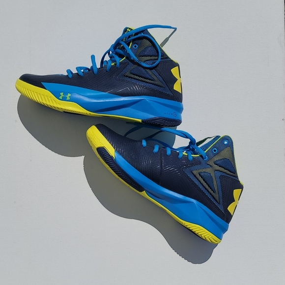 Under Armour Basketball Shoes sz 7.5 Blue/Yellow